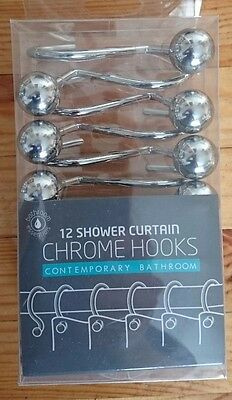 Large Chrome Ball Shower Curtain Hooks x 12 Brand New in Box