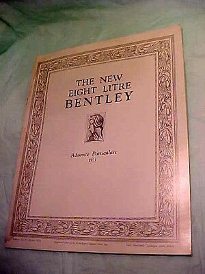 Bently The New Eight Litre Advance Particulars 1931 Reprint 1975 By Rroc Booklet