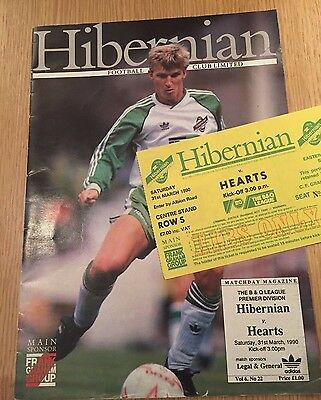 Hibernian (Hibs) v Hearts 31 March 1990 (Inc Match Ticket)