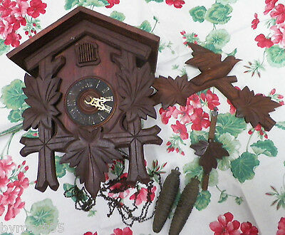 #1 Vintage Black Forest Germany Railway Cuckoo Clock For Repair Or Parts