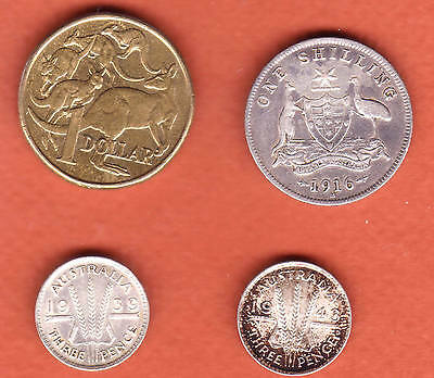 c240 | Four Australia (3 silver), includes 1916-M shilling | Reduced 25% Jan 4