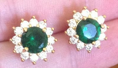 18K Yellow Gold Diamond and Emerald Cluster Stud Earrings 298