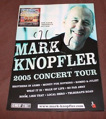 Mark Knopfler Dire Straits Signed Mini Tour Poster/Flyer - Rare and Stunning.