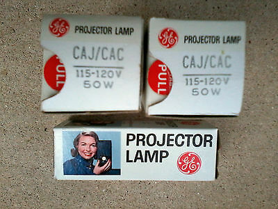 Lot Of 3 New GE General Electric CAJ/CAC Projector Lamp Bulbs 50W 120V - NOS