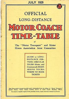 Motor Coach Time-Table: Official Long-Distance: Motor Transport: July, 1929
