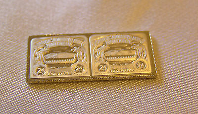 Solid Silver Stamp Solomon Islands 1907 Two-Pence War Canoe