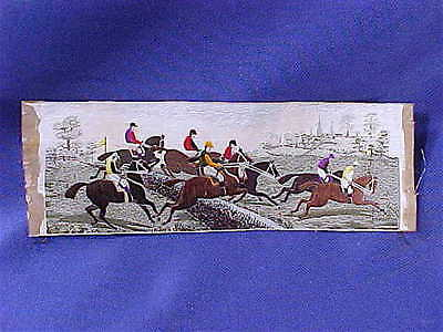 """Antique Stevengraph Victorian Horse Racing """"The Water Jump"""" silk woven picture"""
