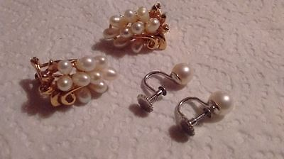 Two pairs of genuine fresh water pearl vintage clip on earrings QUALITY