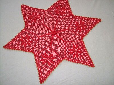 Hand Crocheted Christmas Star Doily Red