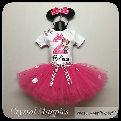Personalised 2nd Birthday Minnie Mouse Tutu Outfit Cake Smash Rhinestone Skirt