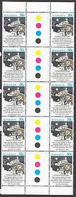1981 Christmas gutter block of 10 x 30c stamps  MUH