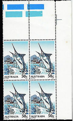 1979 Blue Marlin  4 x 50c stamps with gutter strip, MNH