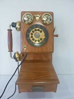 Old Fashioned Telephone Wall Mount Phone Country Kitchen Retro Vintage Wood Oak