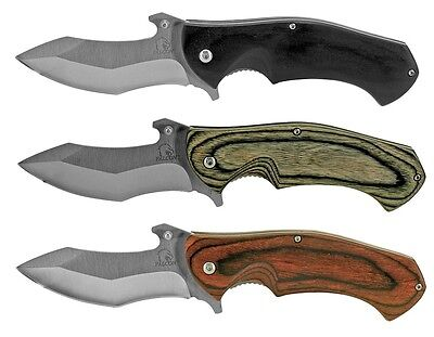 """8"""" Falcon STAINLESS Spring-Assist Folding Knife w/ Wooden Handle & Bottle Opener"""