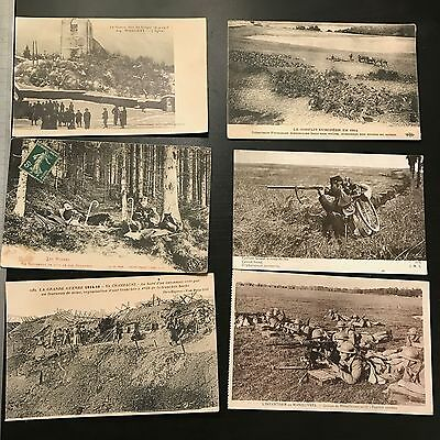 6 French Military Postcards WW1 - Originals! Soldiers training and in Combat.