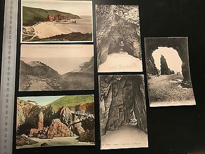 A group of 6 Vintage Postcards of Jersey and Needles Rock + The Devils Hole Cave
