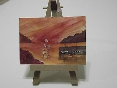 """""""sunset By The Sea """" An Original  Watercolour  Painting  Aceo Landscape"""