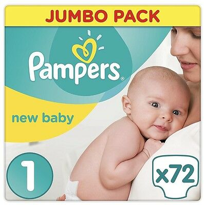 Pampers Nappies New Baby Jumbo Pack - Size 1  Pack of 72