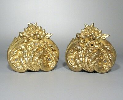 Pair of Antique French Gilded Bronze Handles, Shell, Flowers, Rococo