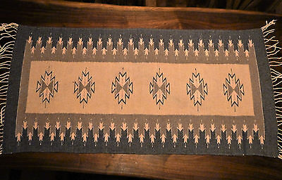 """Fine Hand-Loomed Mexican Zapotec Rug - 100% Wool - Natural Dyes - 26"""" x 56"""""""