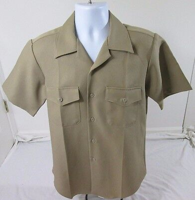Flying Cross Navy Twill Men's M Medium Brown Button Front Short Sleeve Shirt
