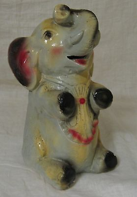 """Vintage Chalkware Circus ELEPHANT in Apron Coin or Razor Blade Bank,  8"""" Tall"""