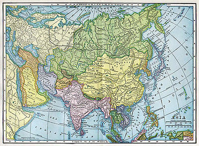 Asia Map, Antique 1900s, Hammond, Wall Decor, Great Coloring Affordable Wall Art