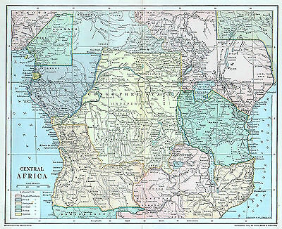 Central Africa Antique Map 1891 Congo Free State Colonial Rule Original 19th C