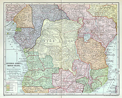 CENTRAL AFRICA Antique Map 1888 Congo Free State Angola Colonial Rule History