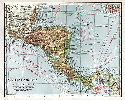 Central America Antique Map, 1920's,  Affordable Wall Decor, L L Poates