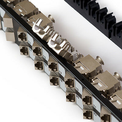 Cat6a 24 port shielded patch panel with angled tool-less keystone jacks