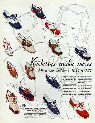 Kedettes Shoes Ad, Misses Childrens 1930's United States Rubber Company, Keds