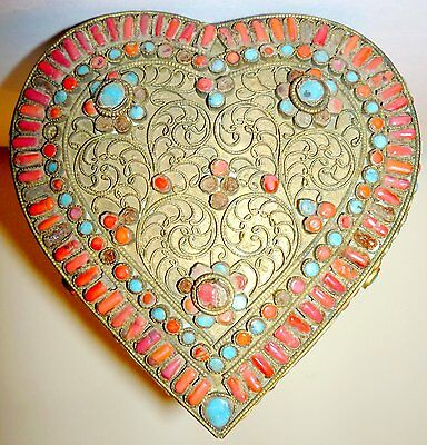Atq Tibetan Heart-Shaped Box with Swirled Wire, Inlaid, Glass, Coral & Turquoise
