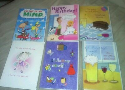 Pack of 6 FUNNY Birthday Greeting Cards Greetings Card FREE POST