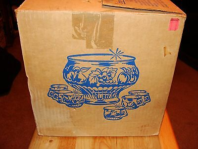 Vintage Jeannette Glass Fruit Pattern Punch Bowl 8 Cups Hooks And Ladle in OB