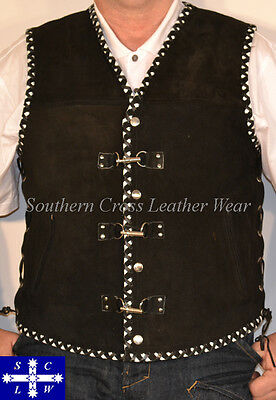 Men Suede Leather Motorcycle Vest With Push/Pull Toggles & Club Colors Braiding