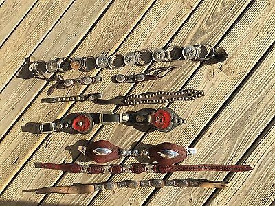 Mixed Lot Of Concho Belt Vintage Horse Harness Pieces