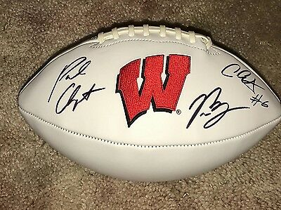 University of Wisconsin hand signed football Clement, Chryst, Biegel