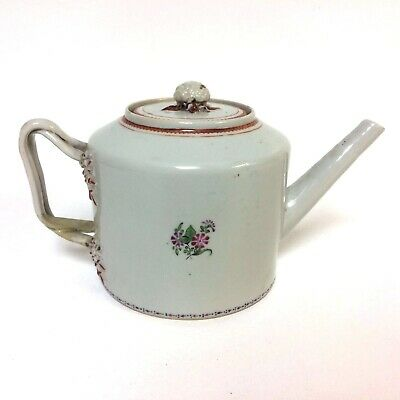 18th Chinese Export Porcelain Teapot W/ Twisted Handle