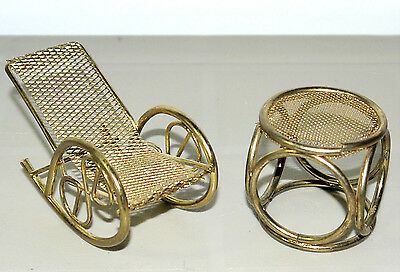 "4"" Doll House Furniture Brass Rocking Chair With Table"