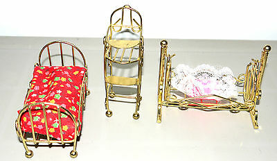 "4"" Doll House Furniture Brass Set For Nursery Baby Bed Highchair Cradle"