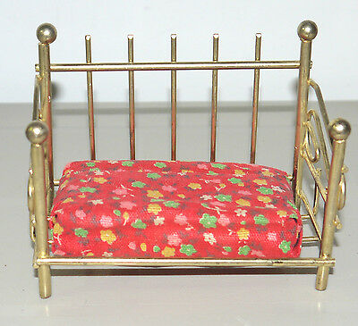 "4"" Doll House Furniture Bedroom Brass Bed With Mattress"