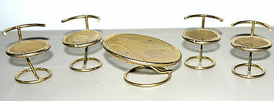 "4"" Doll House Furniture Brass Dinning Set Table + 4 Chairs"