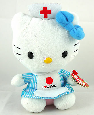 "Ty Hello Kitty "" I  Love Japan "" American Red Cross Nurse Retired Doll 7"""