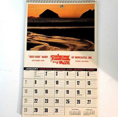 Vintage 1973 Best Ever Dairy Calendar ~ New Castle, Indiana ~ Complete
