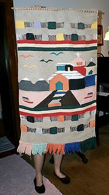 Handsome Mexican Fabric Textile Wall Tapestry Of Town With Church