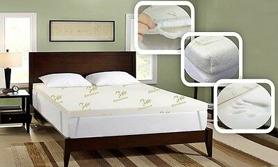 Bamboo Memory Foam Mattress Toppers Bamboo Pillows Available in All Sizes/Depths