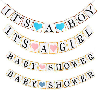 It's A Boy/Girl Bunting Banner Garland Baby Shower Party Hanging Decorations