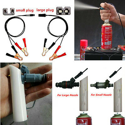 Portable Car AUTO Fuel Injector Flush Nozzle Cleaner Adapter Tool Battery Clip