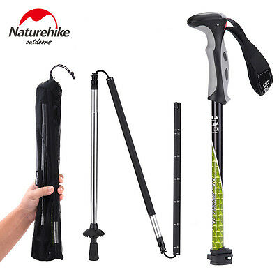 4 Sections Carbon Steel Walking Stick Foldable Climbing Trekking Pole 130cm 287g